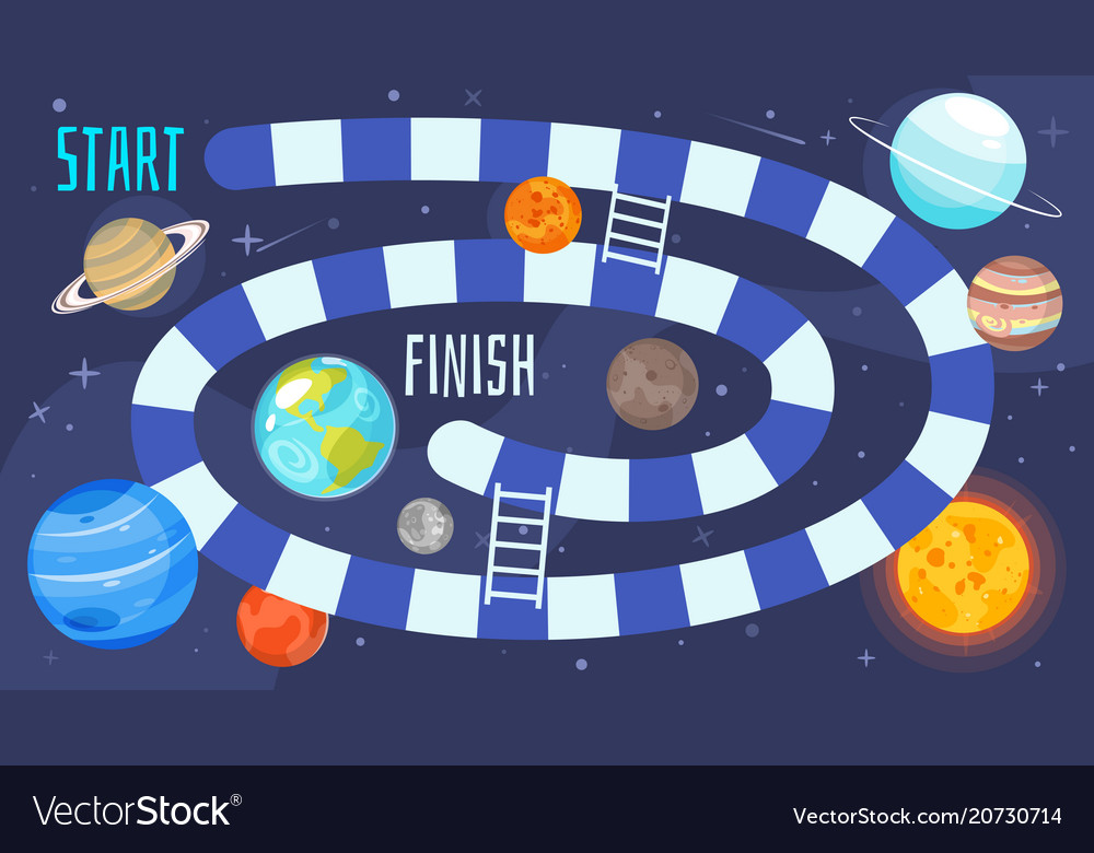 Kids Space Board Game Template Royalty Free Vector Image