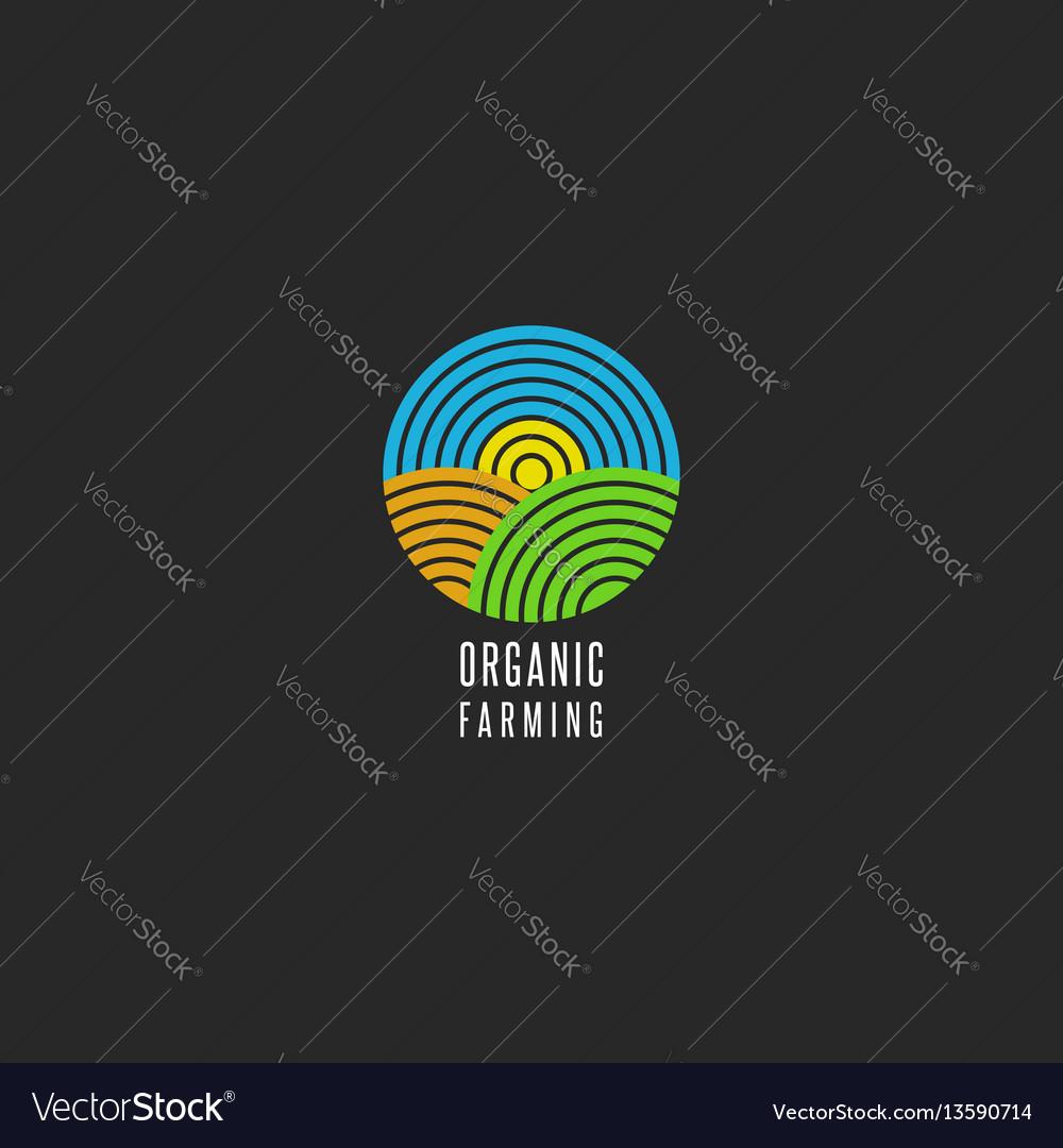 Organic farm logo round shape abstract line style vector image