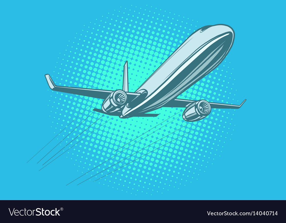 Passenger plane in the sky vector image