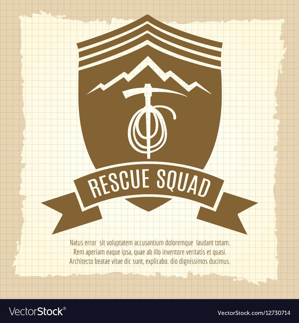 Rescue squad retro badge design vector image