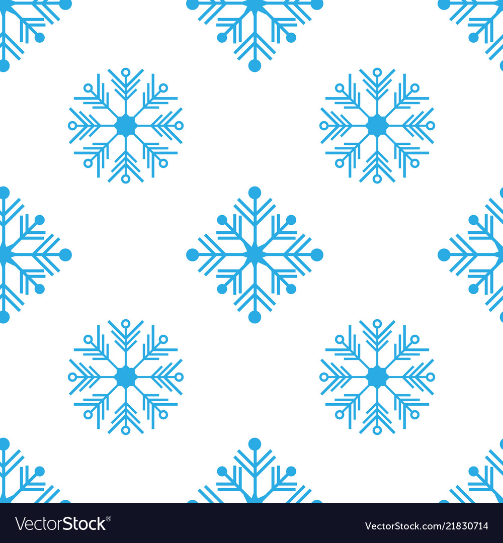 Seamless pattern with detailed snowflakes