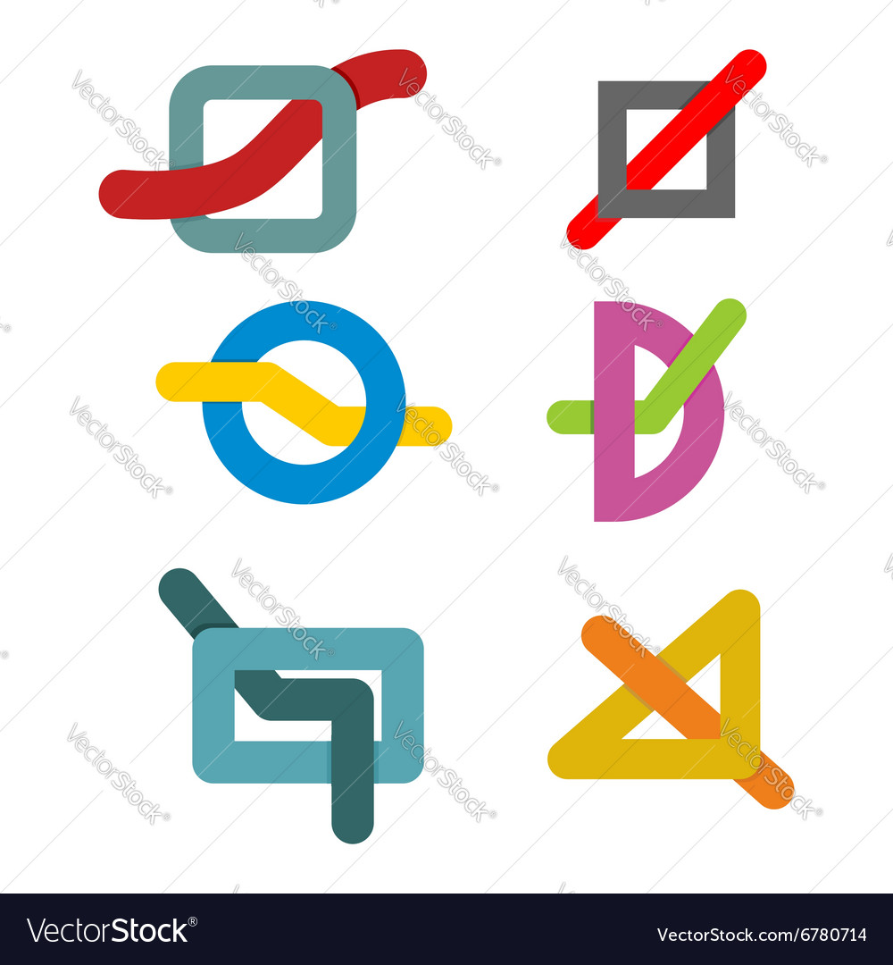 Set color template geometric abstract logo Linear vector image