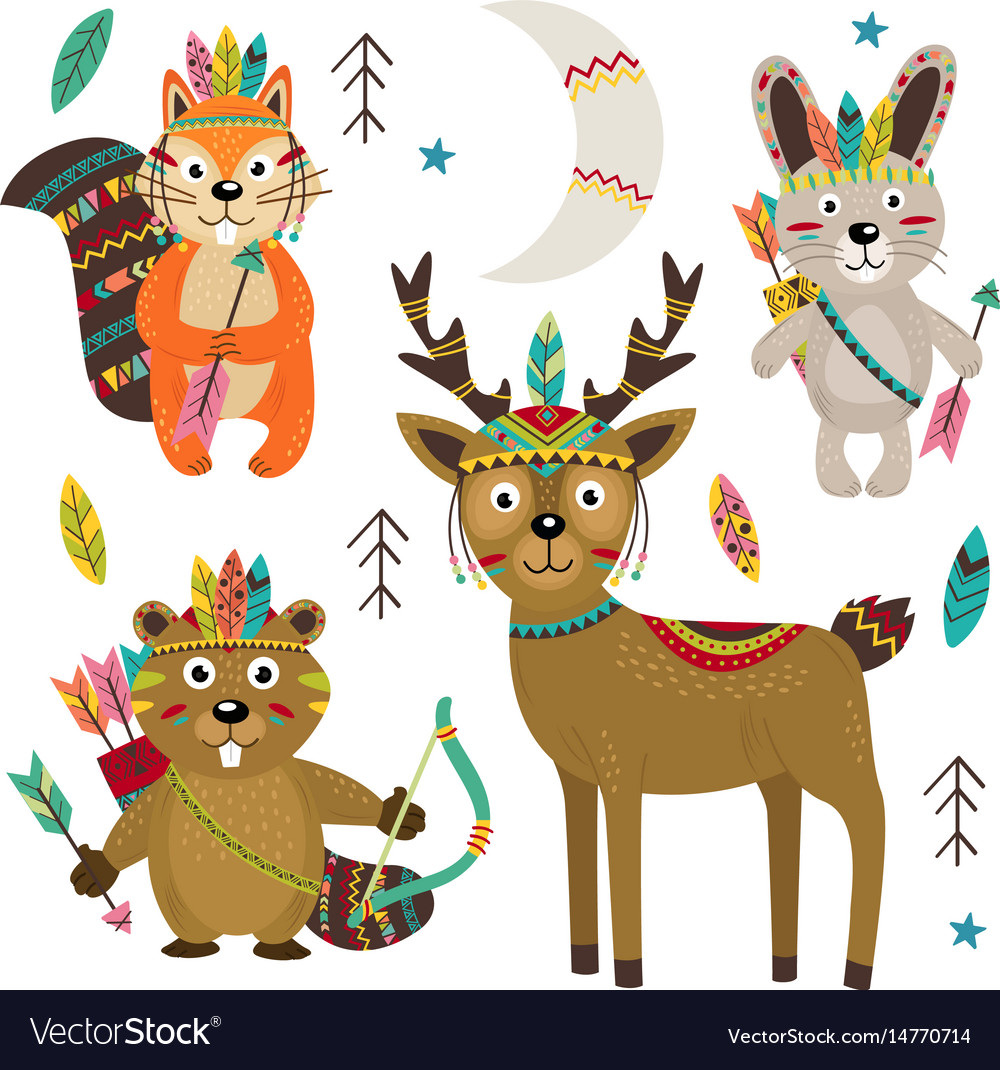 Set of isolated tribal animals part 2