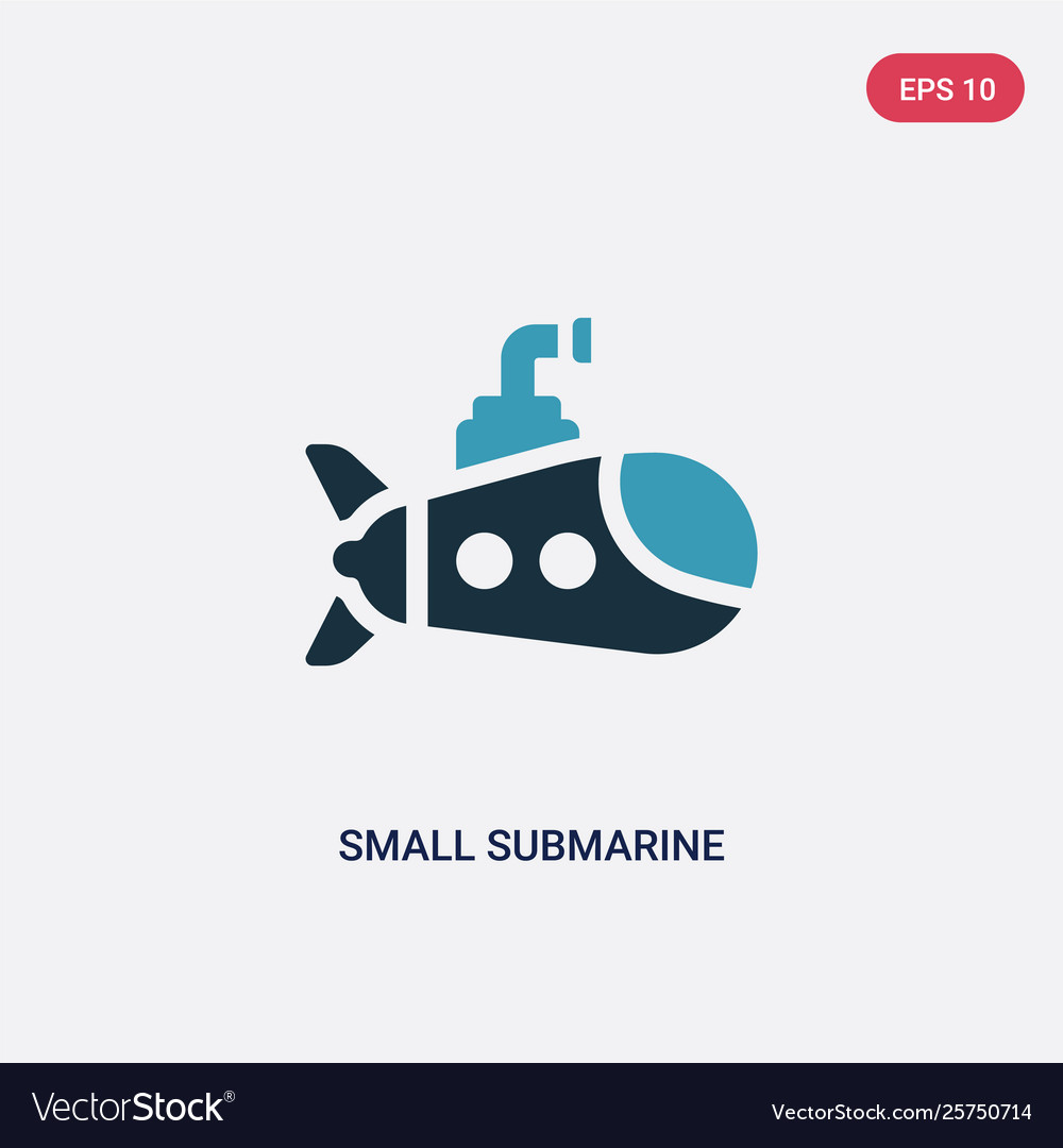 Two color small submarine icon from