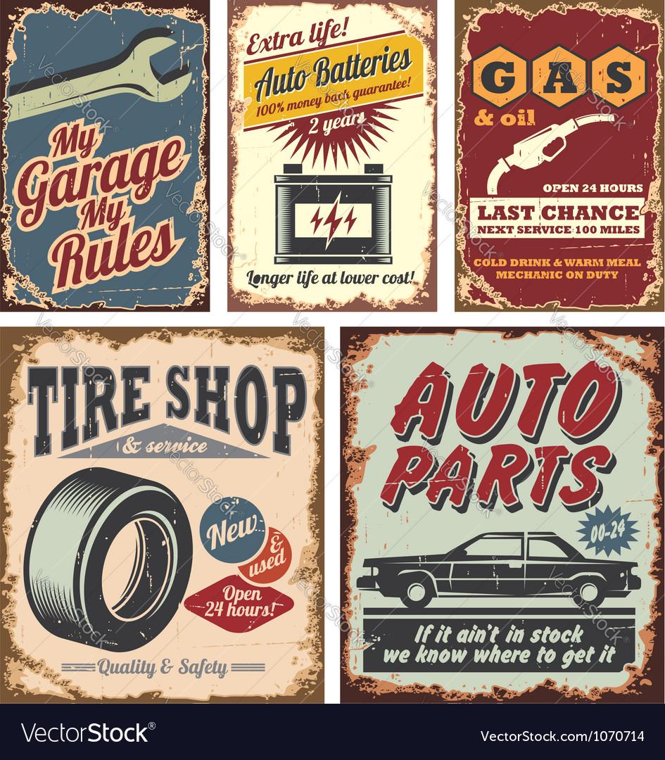 Vintage car signs vector image