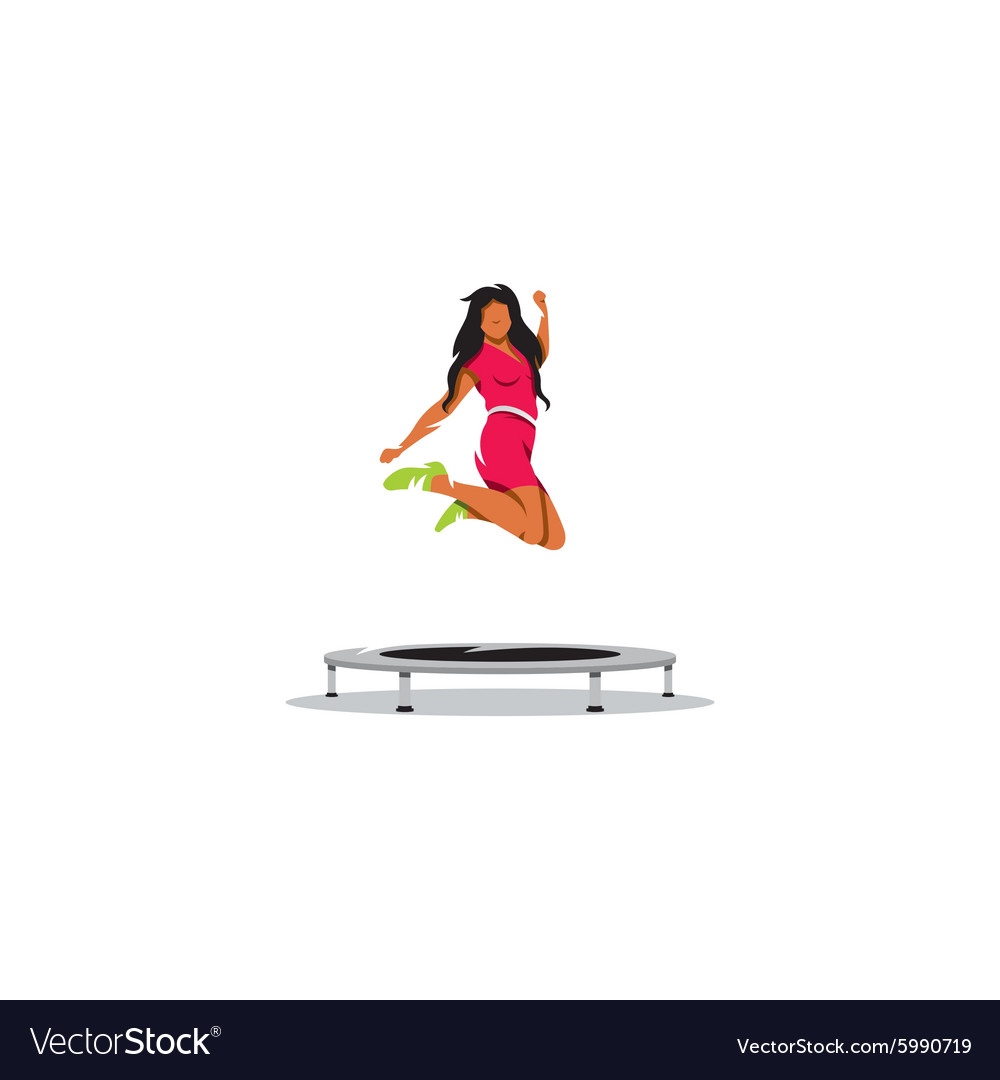 Cheerful young girl jumping on trampoline sign