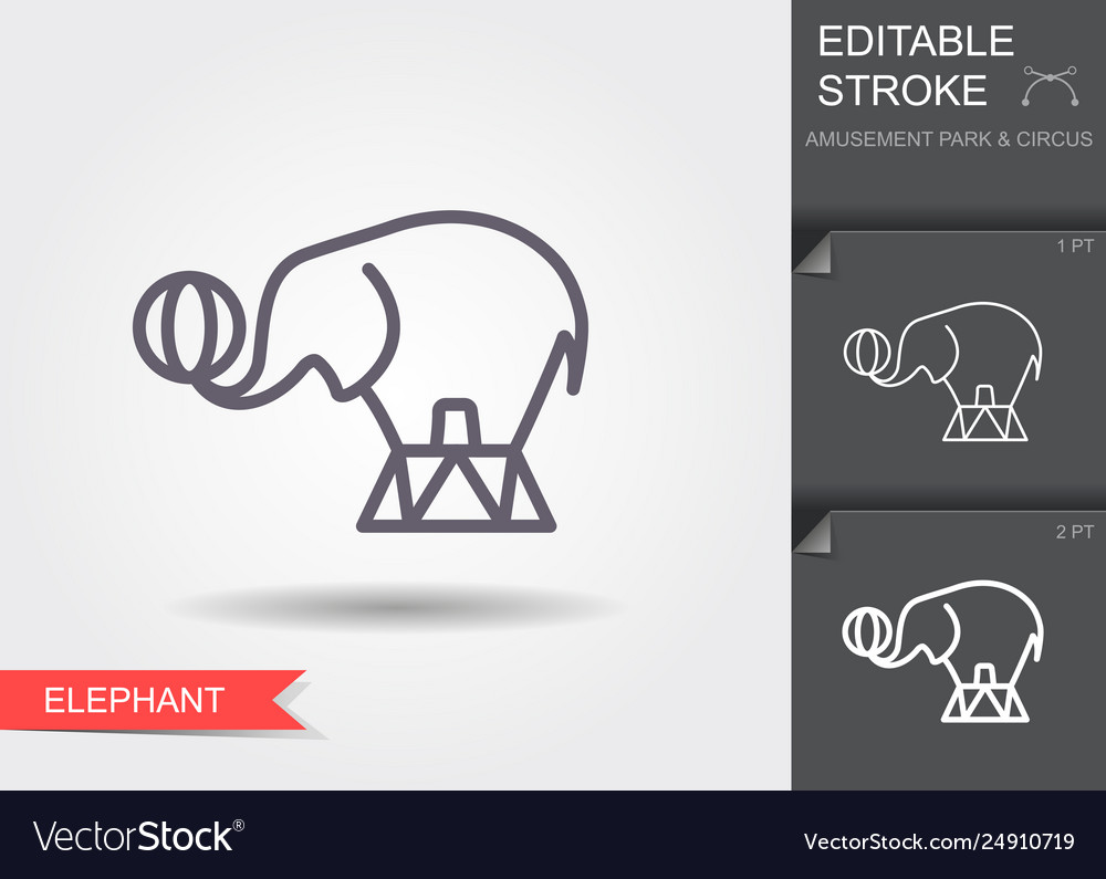 Circus elephant line icon with editable stroke