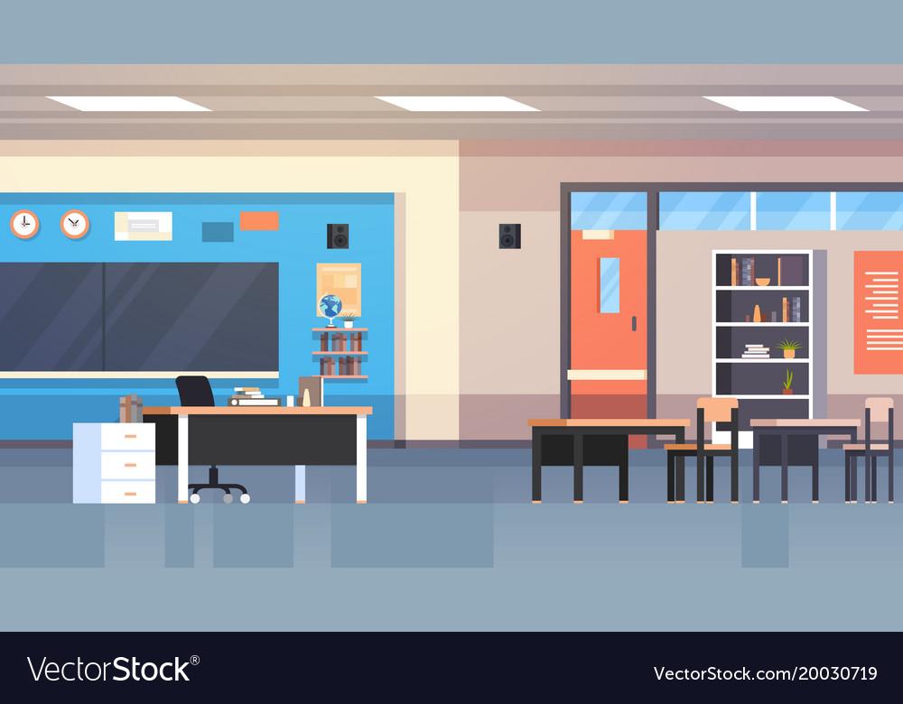 Class room interior school classroom with board vector image