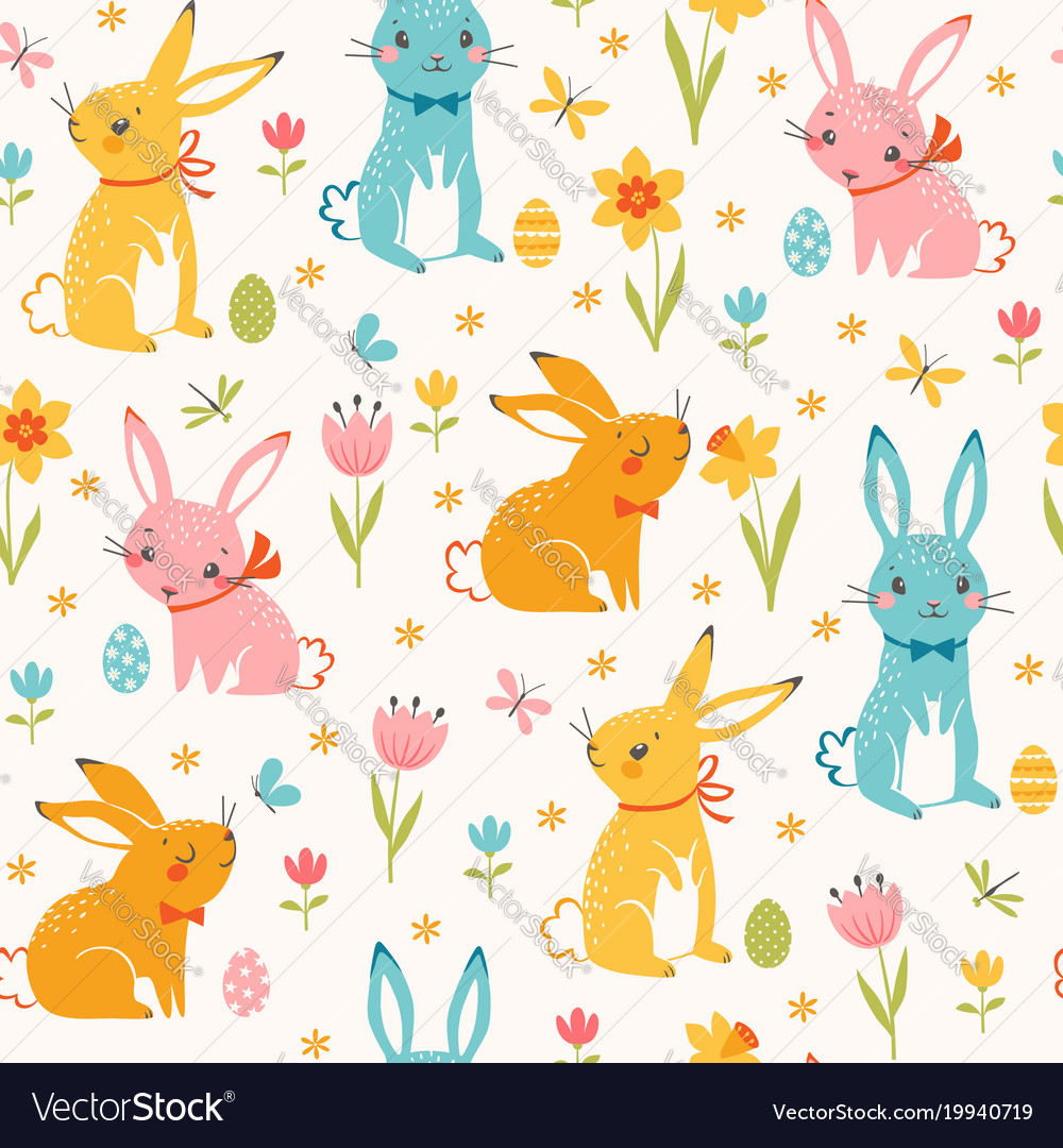 Colorful easter bunnies pattern