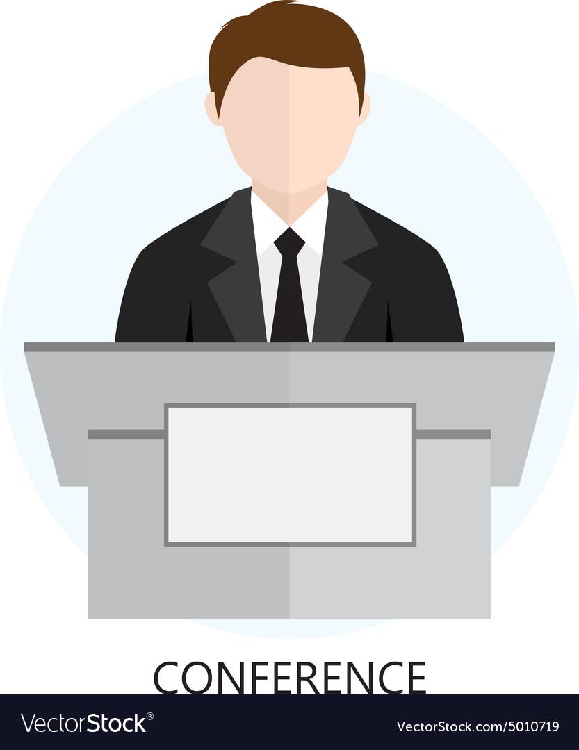 Conference Icon Flat Design Concept