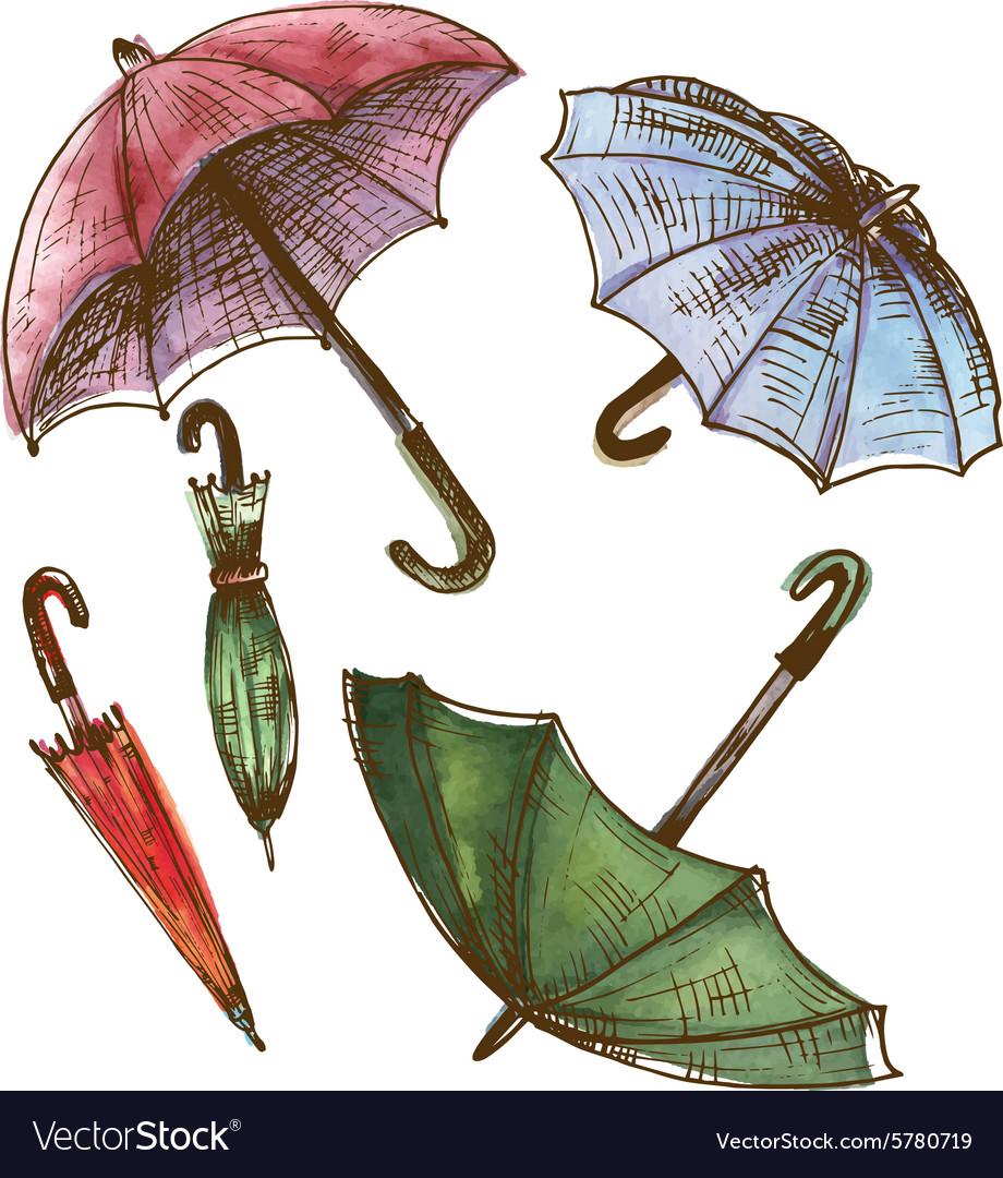 Drawing watercolor set of umbrellas