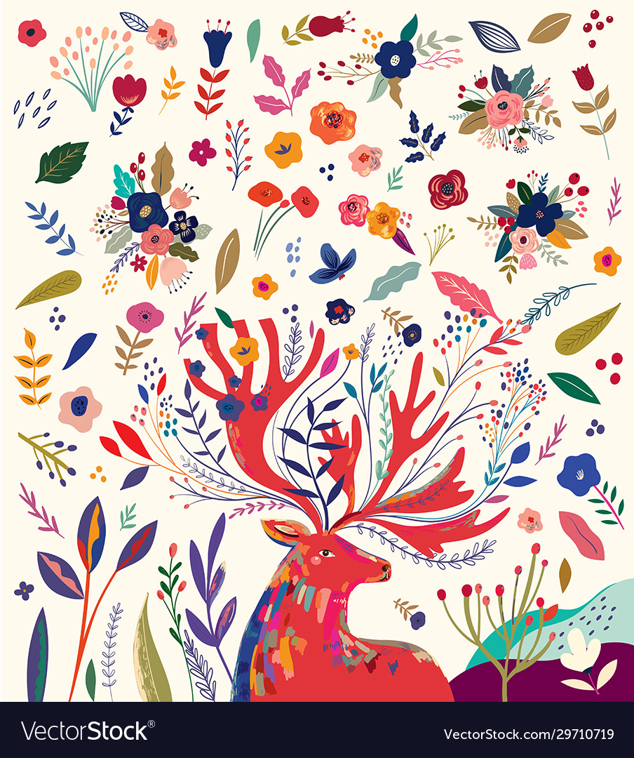 Flowers and deer