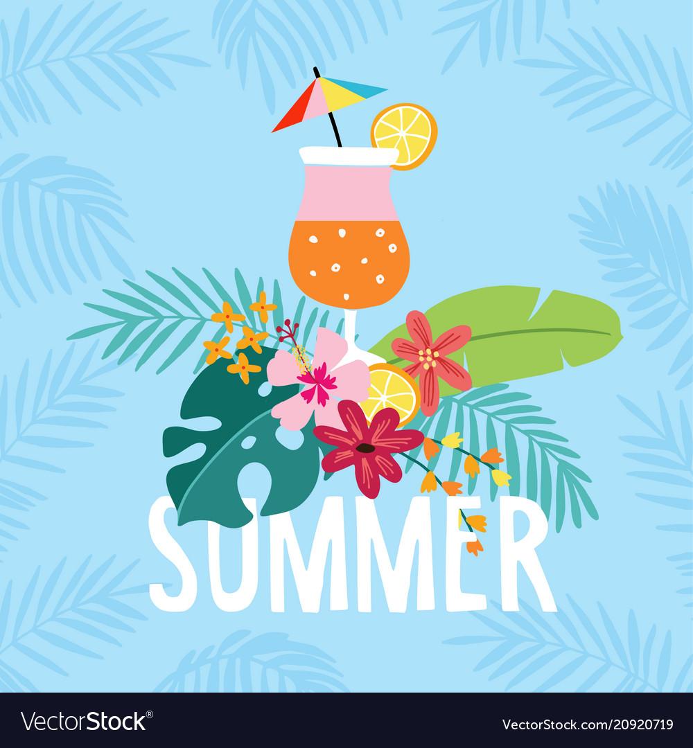 Hand drawn summer party greeting card invitation