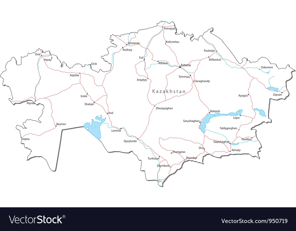 Kazakhstan black white map royalty free vector image kazakhstan black white map vector image gumiabroncs Images