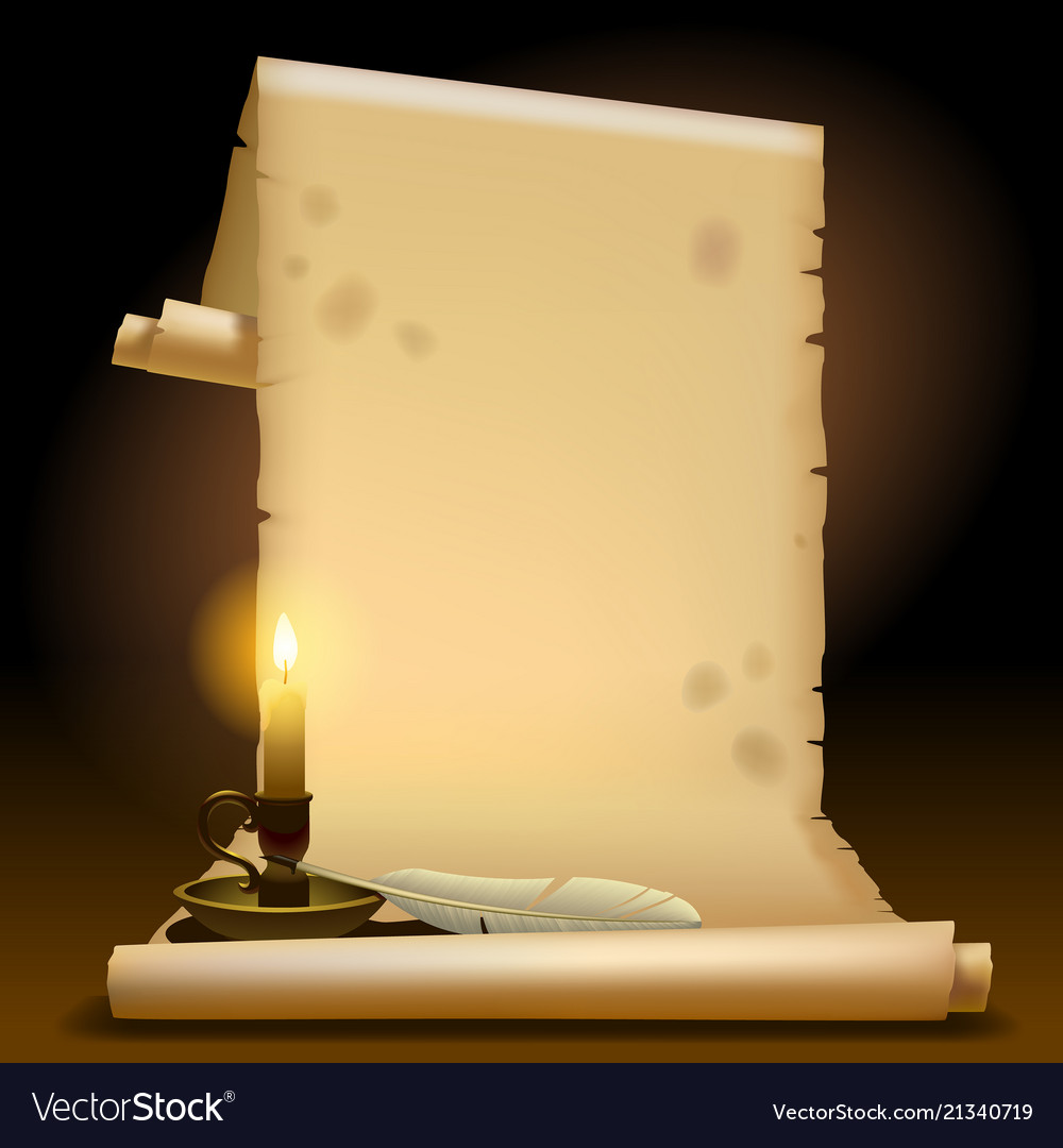 Old parchment with a candle light and feather