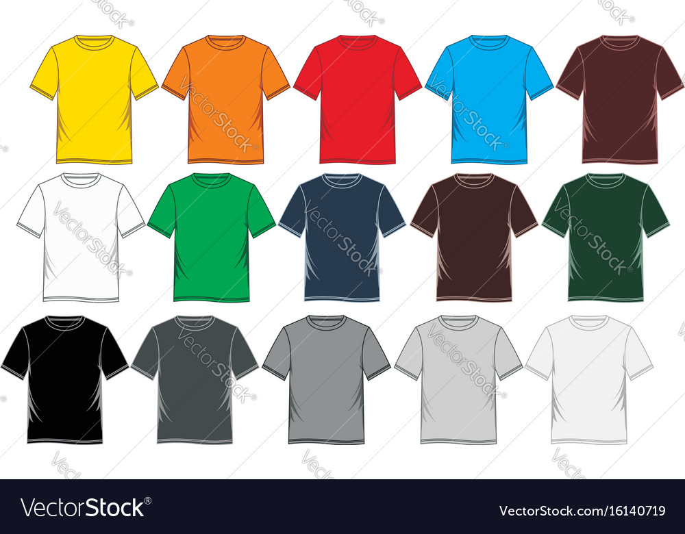 t shirt template colorful blank royalty free vector image