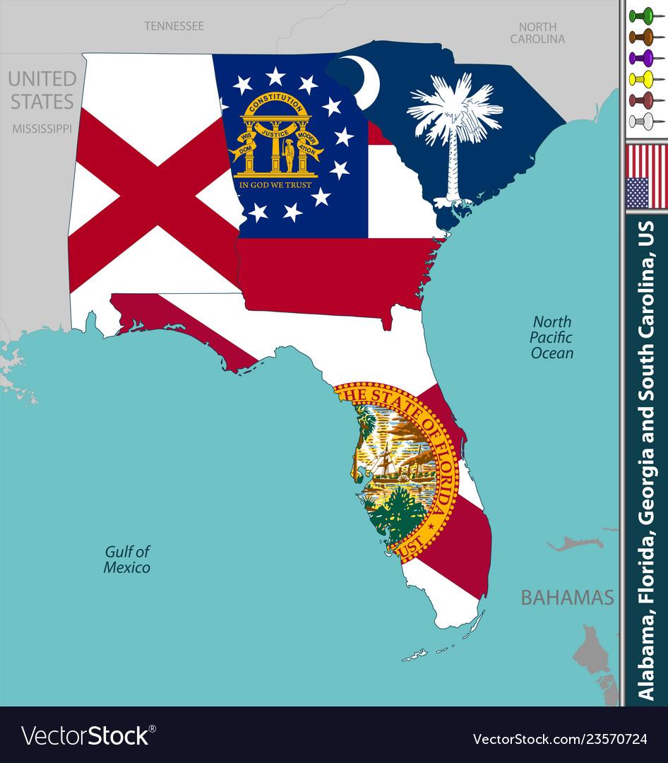 Alabama florida georgia and south carolina Vector Image