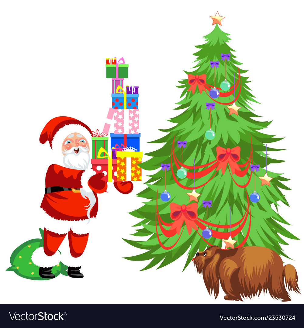 Cartoon Santa Claus Putting Presents Under Vector Image Polish your personal project or design with these cartoon christmas tree transparent png images, make it even more personalized and more attractive. vectorstock