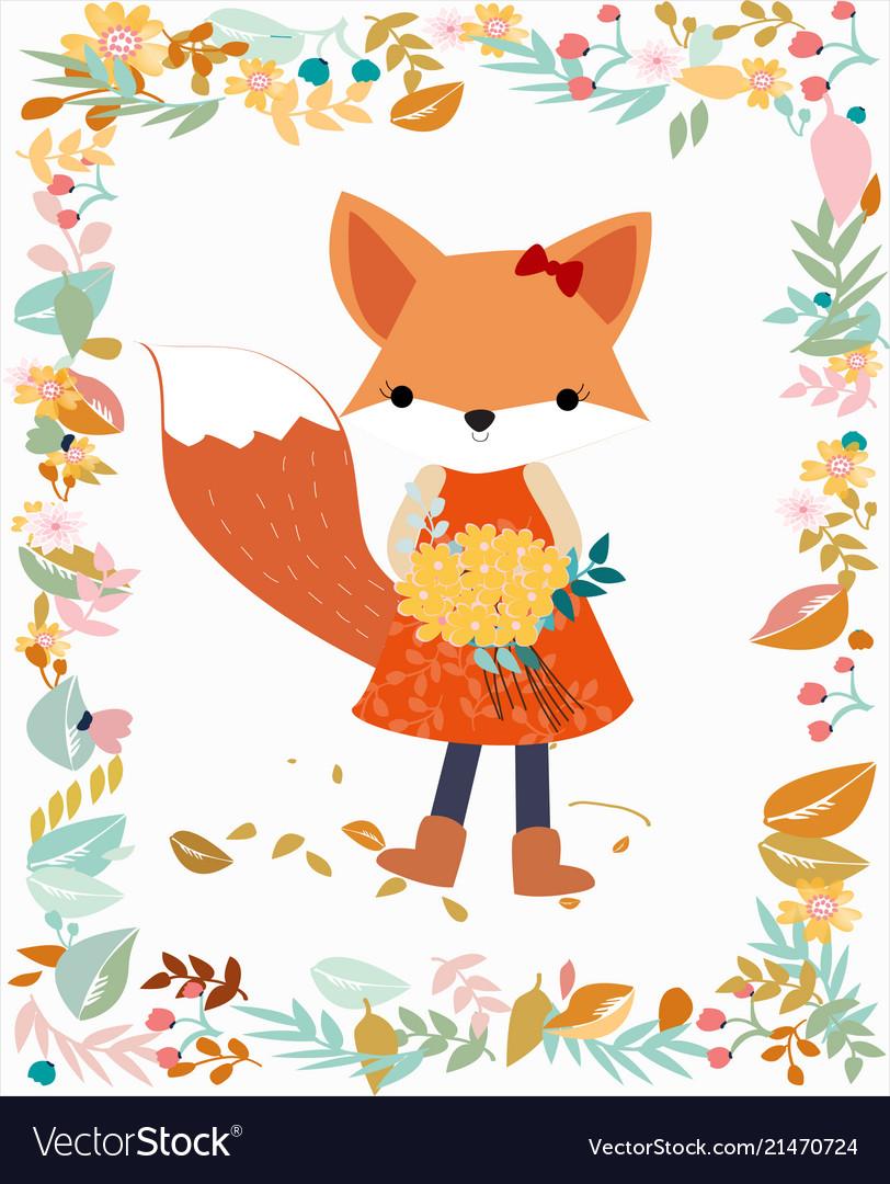 Fox girl in pastel flower and leave frame border
