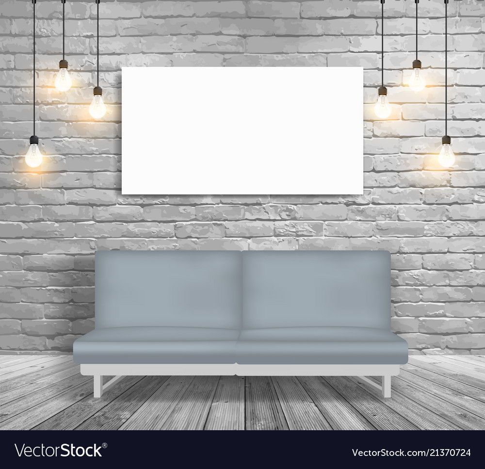 Mock Up Sofa And Lighting In White Brick Wall