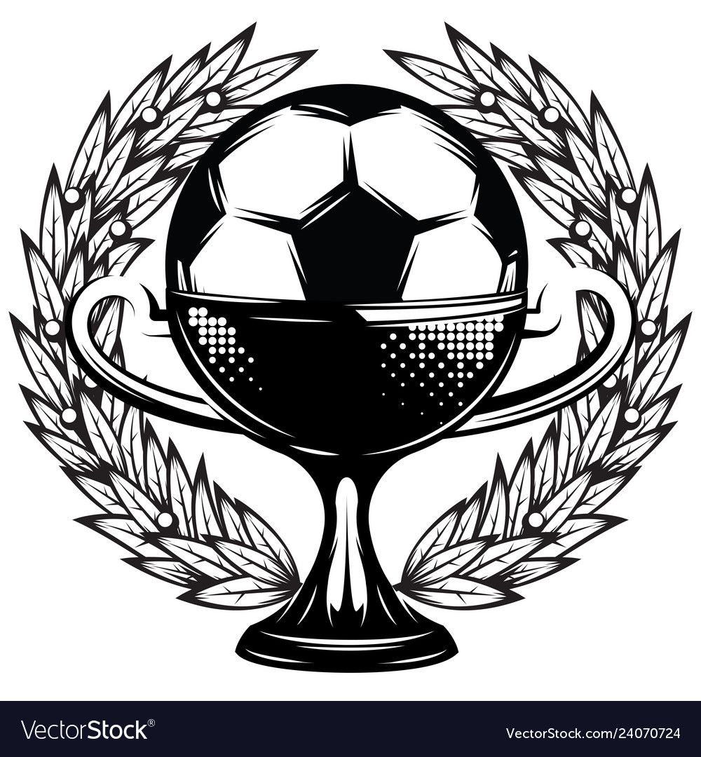 Monochrome template with a soccer cup and wings