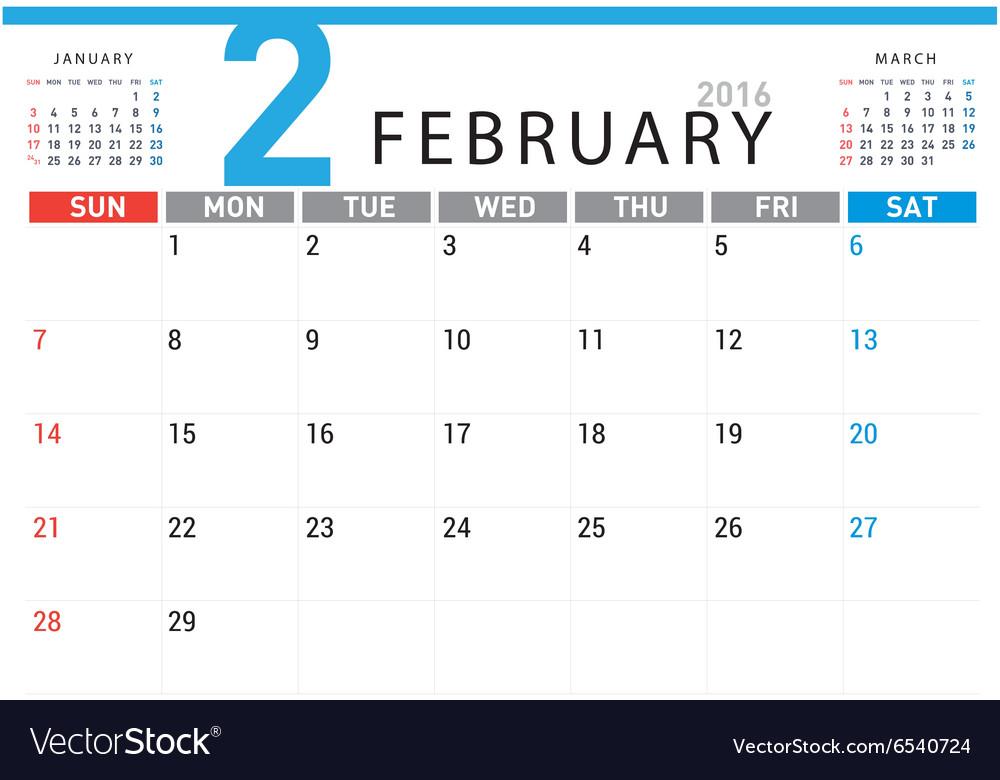 Planning calendar February 2016