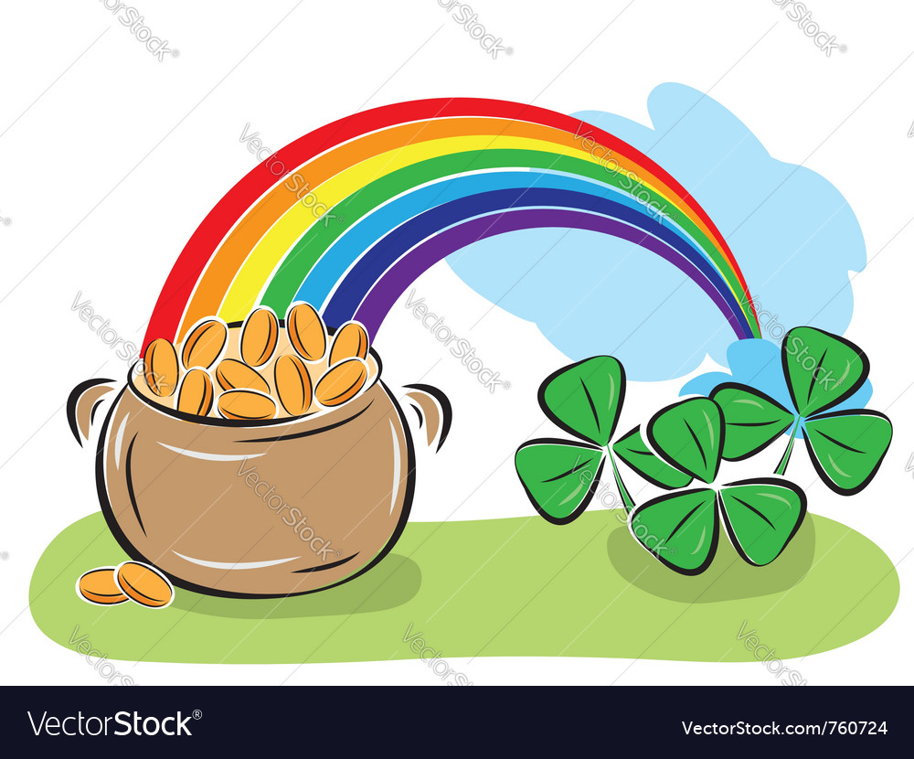 Shamrock rainbow. Pot with coins and