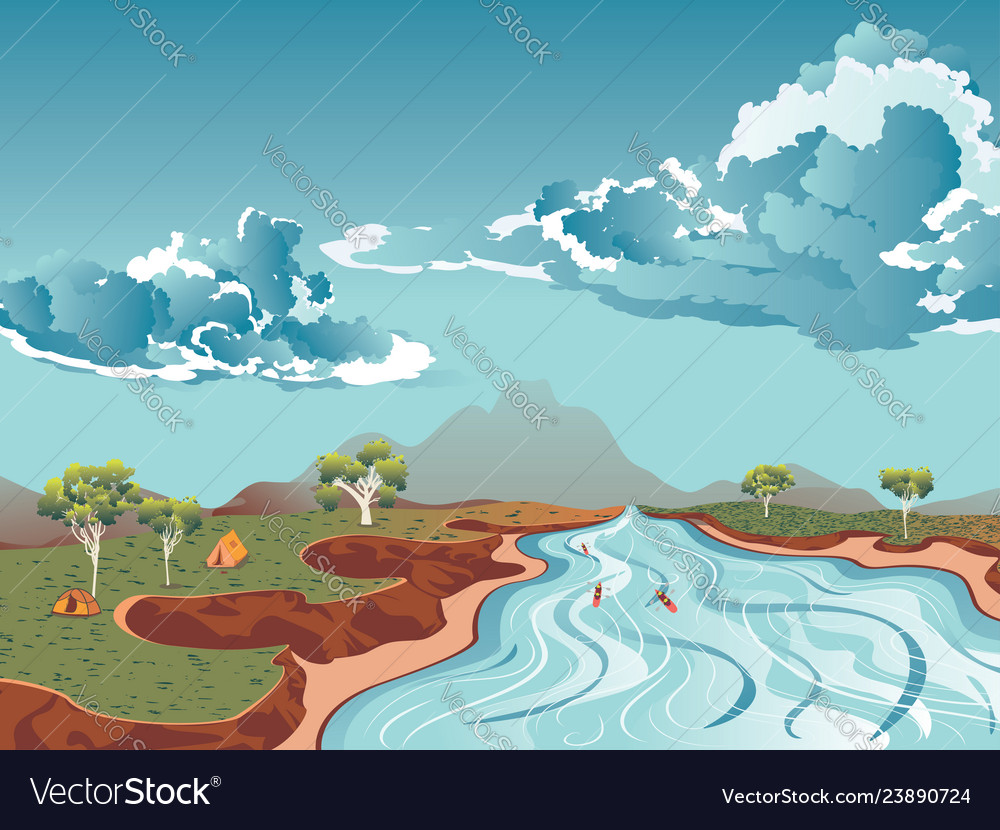rafting on mountain river royalty free vector image vectorstock
