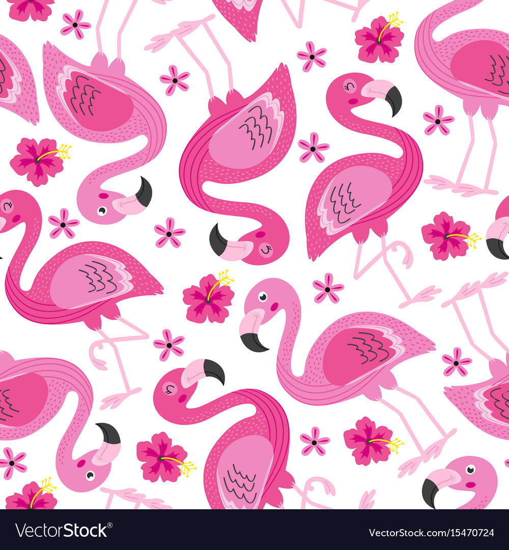 Seamless pattern with pink flamingo