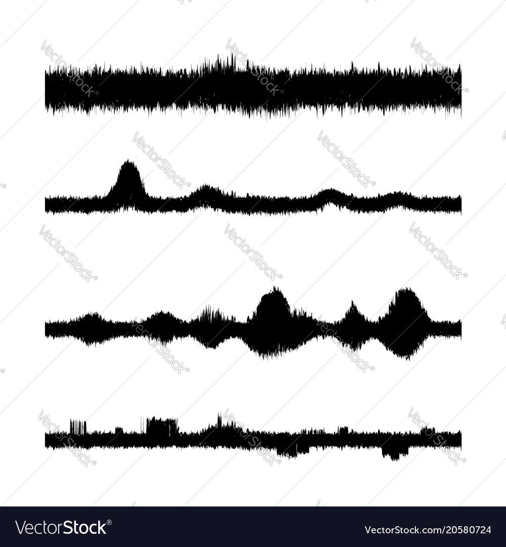 Sound waves set screen of equalizer musical vector image