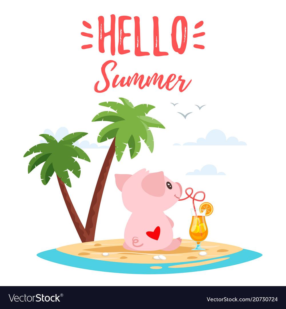 Summer cute pink pig