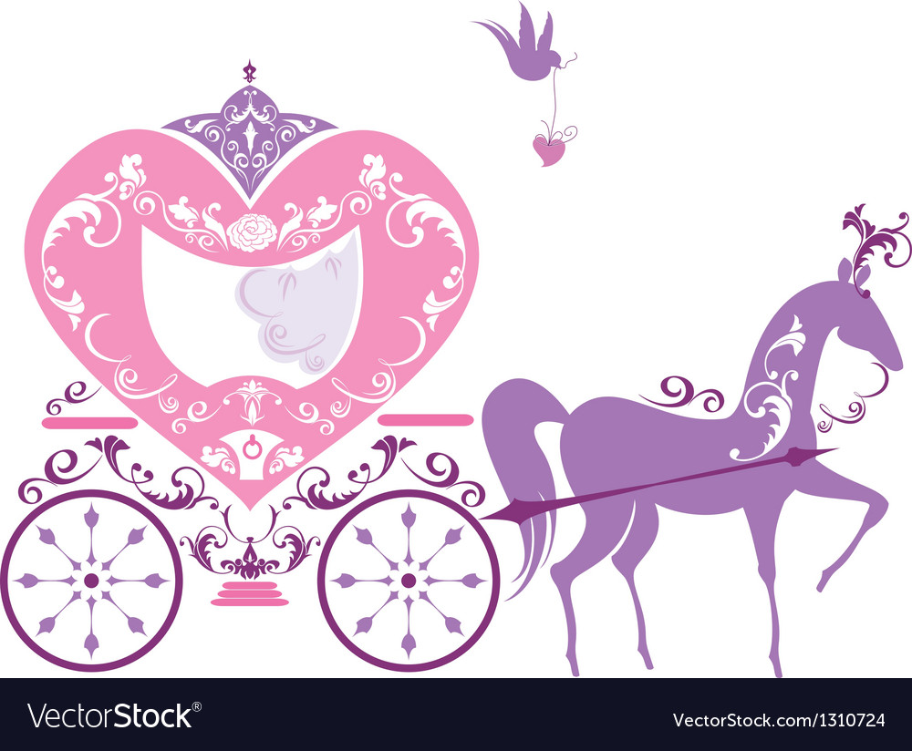 Vintage fairytale horse carriage isolated on white