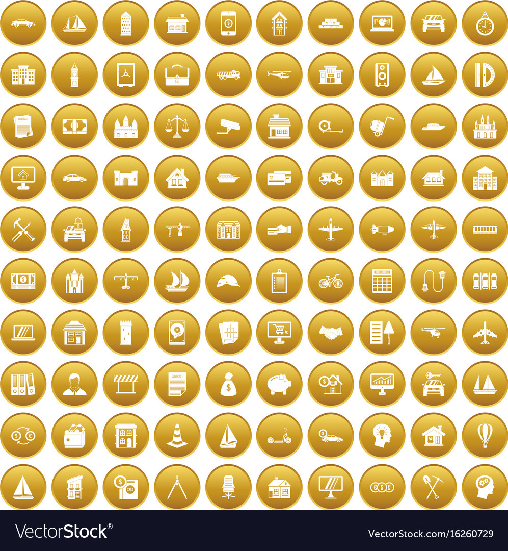 100 private property icons set gold vector image