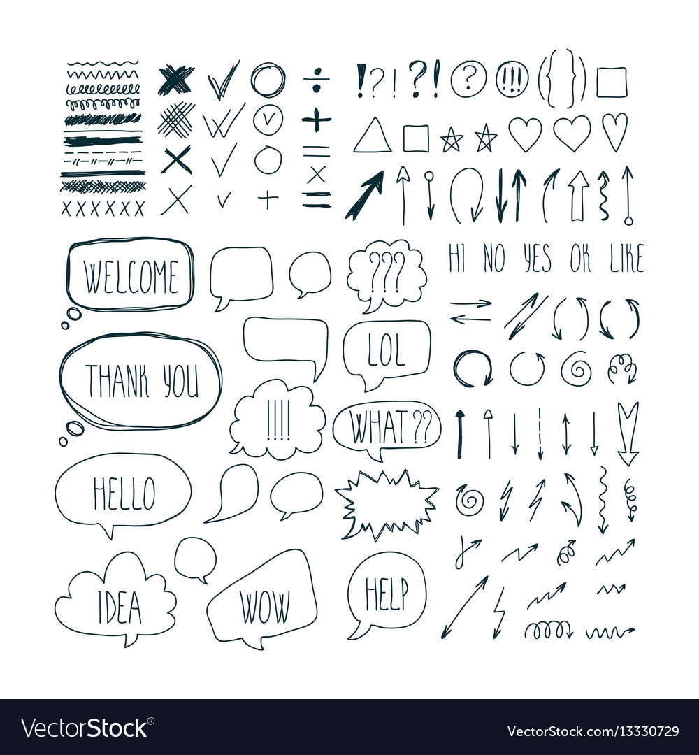 Big set of sketch arrows speech bubbles clouds