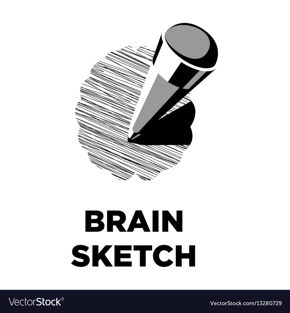 Brain sketch pencil creative icon smart