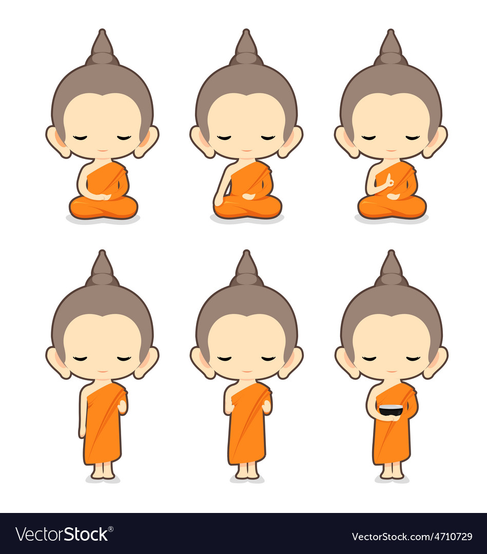 Buddhist Monk Character Design Royalty Free Vector Image