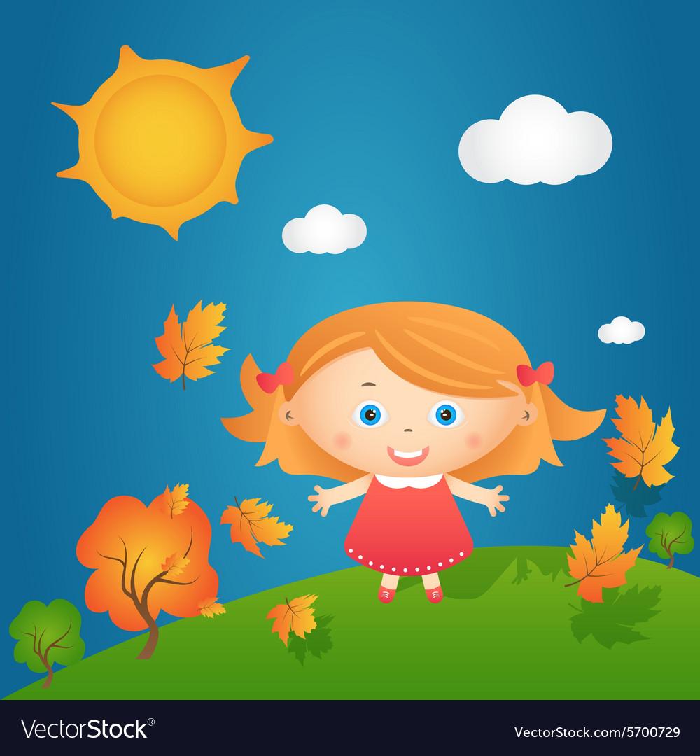 Cartoon of happy little girl in autumn landscape