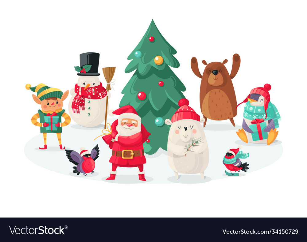 Christmas cartoon characters new year animals