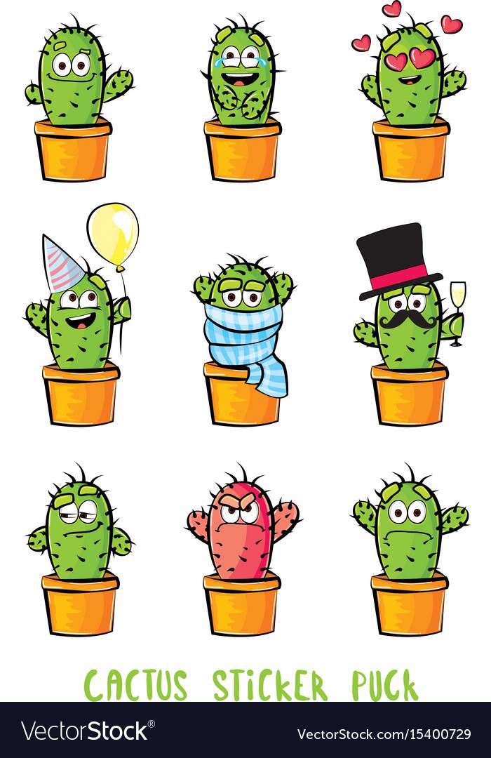 Cute cactus cartoon characters set emoji