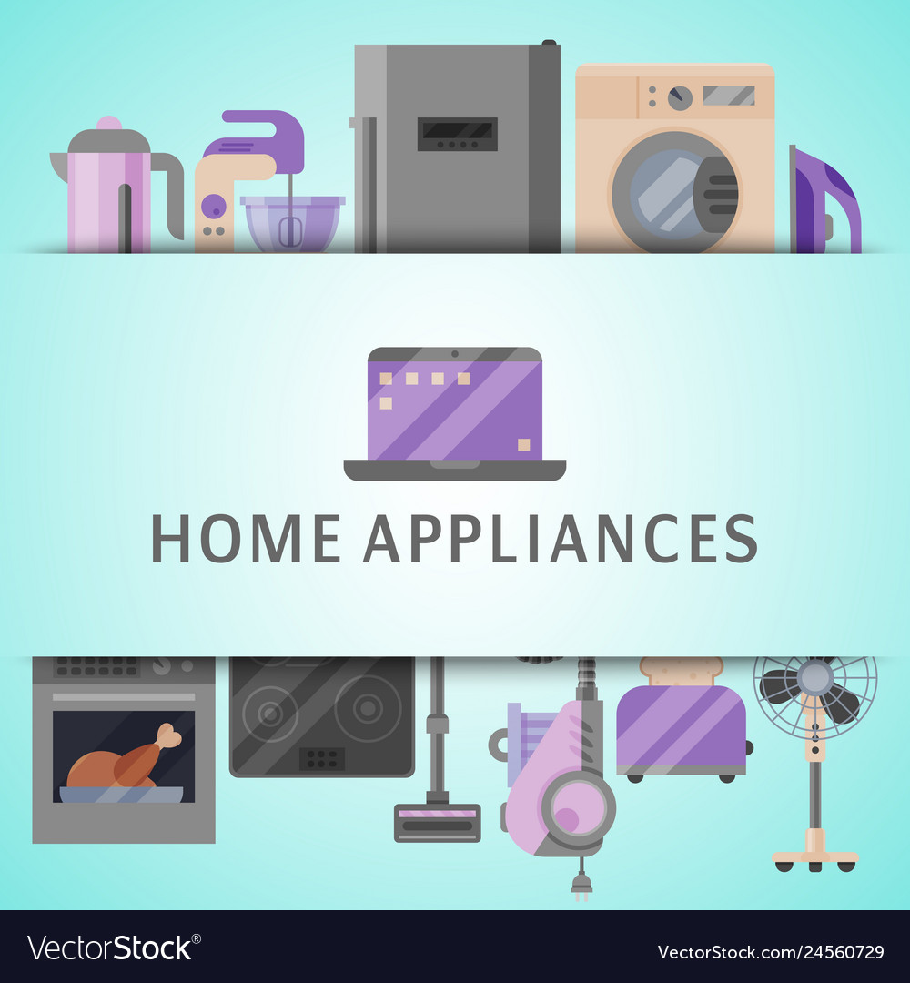 Home appliances poster flat
