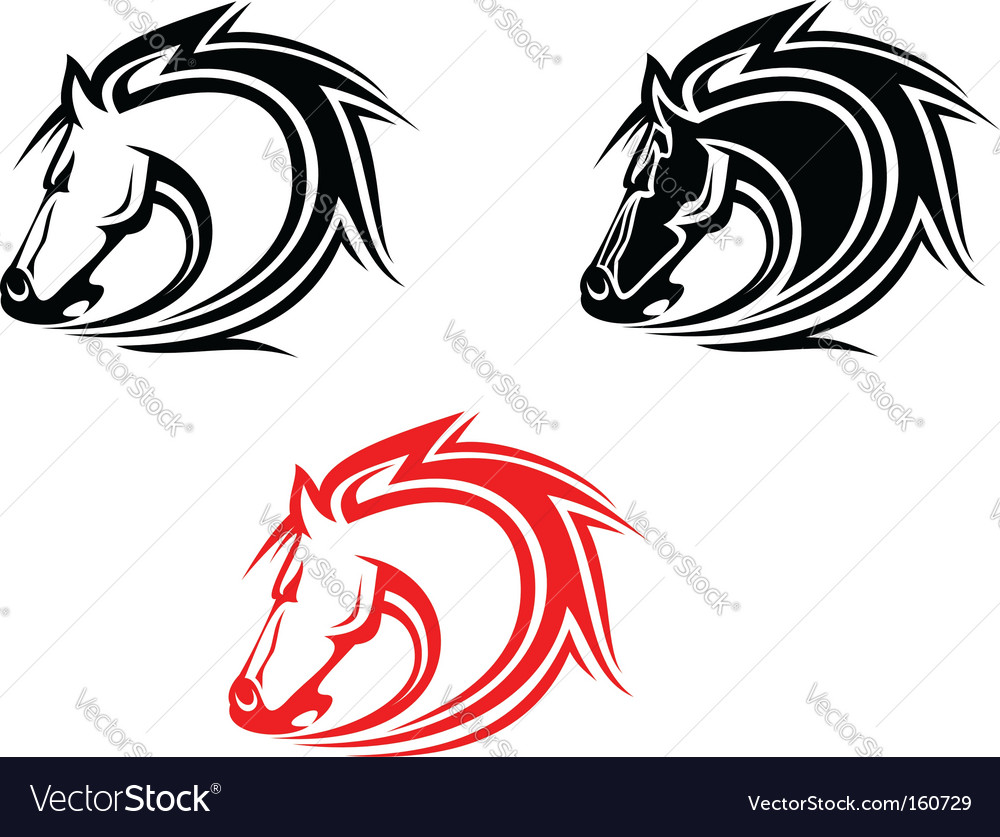 set of horses tattoos isolated on white. Keywords: