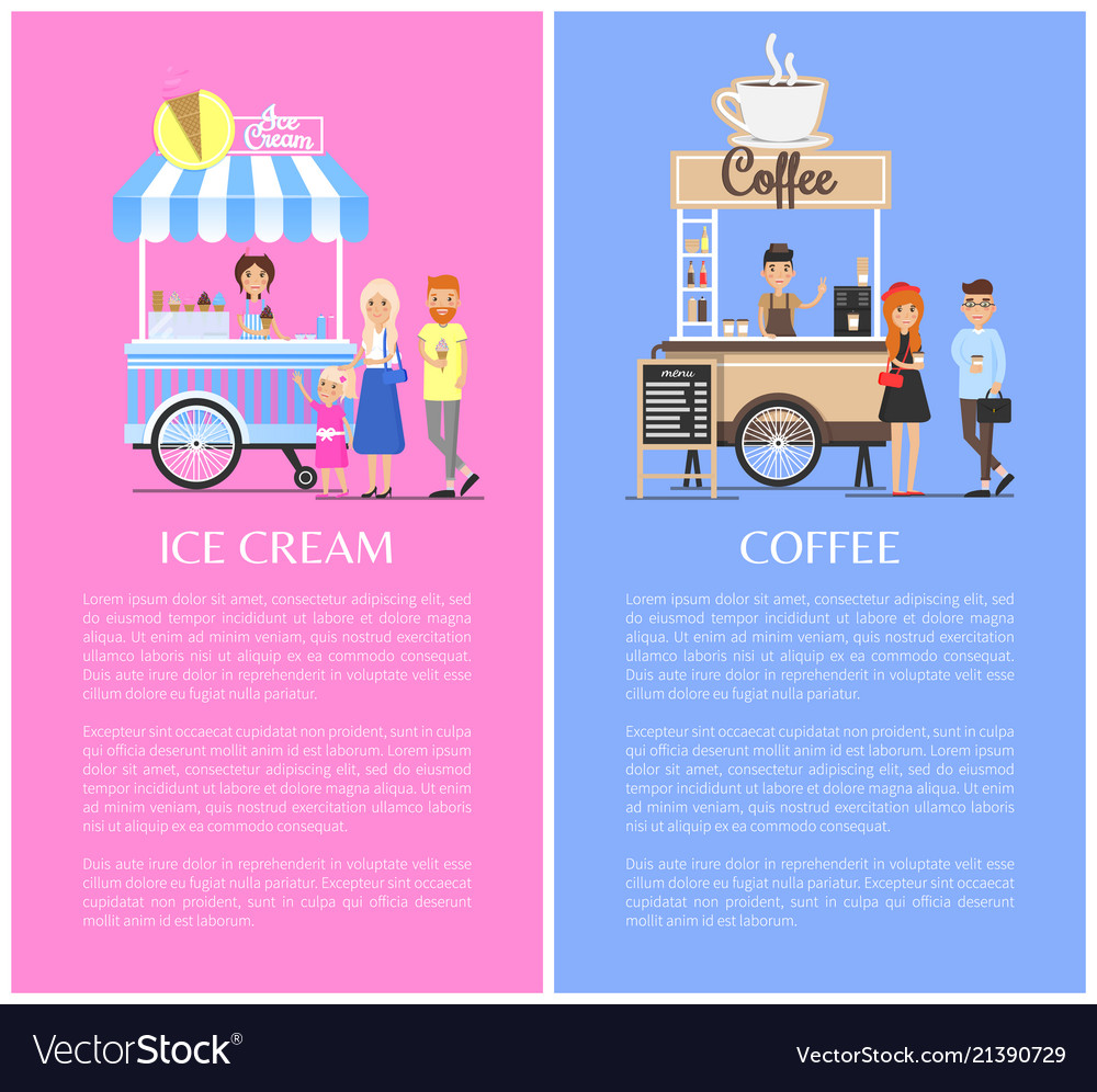 Ice cream and coffee kiosks