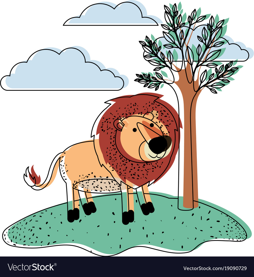 Lion cartoon in outdoor scene with trees and vector image