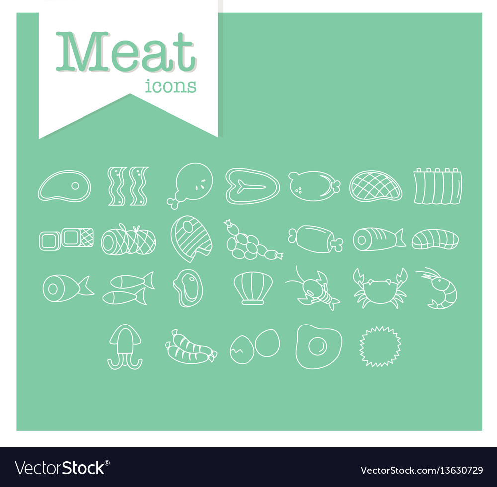 Meat line icon on green background