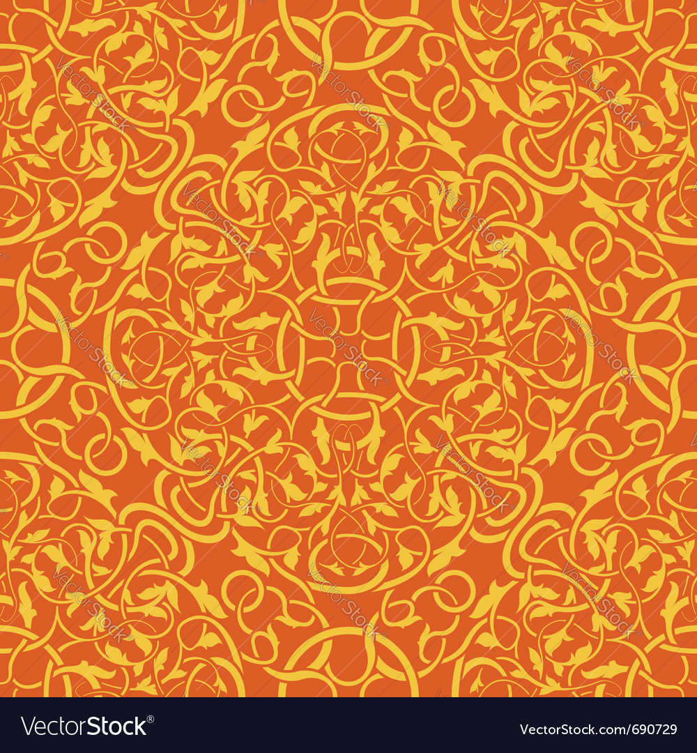 Orange seamless wallpaper pattern vector image