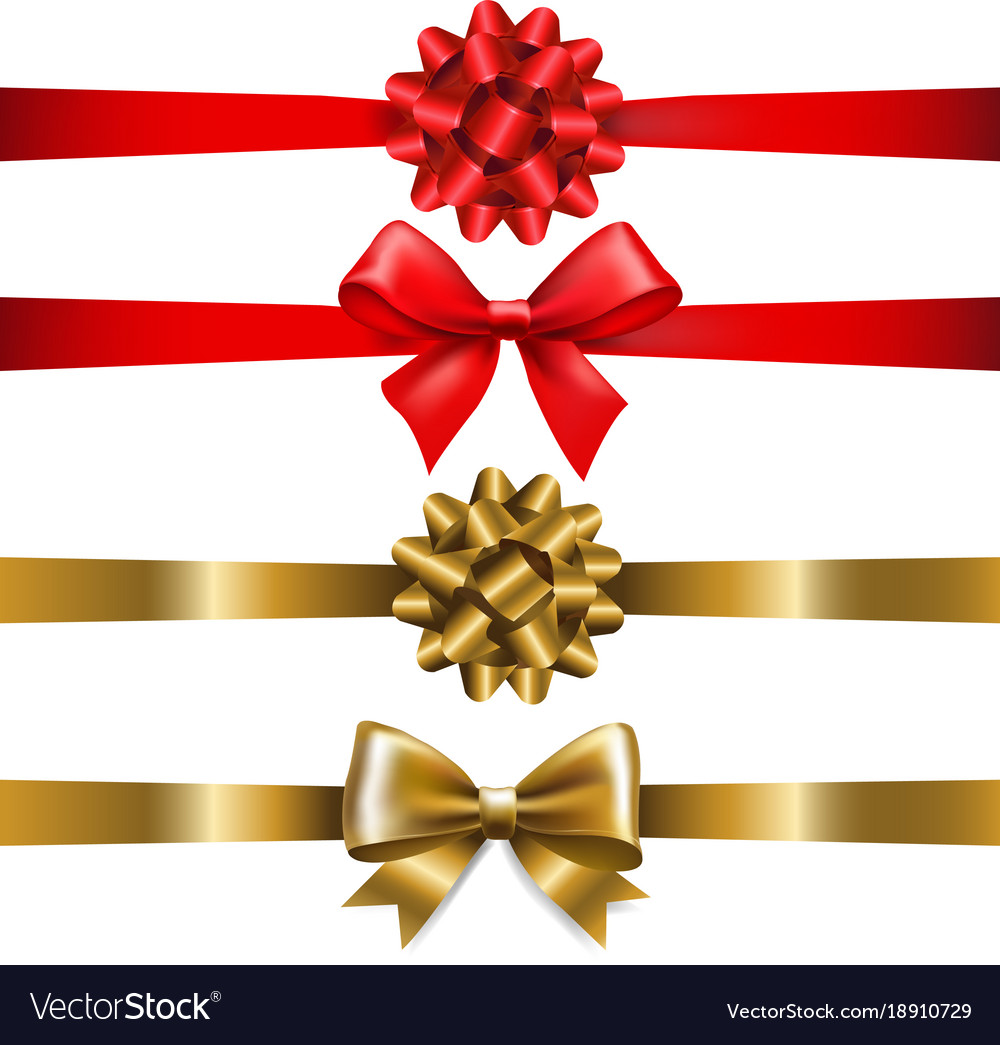 Ribbon bow set vector image