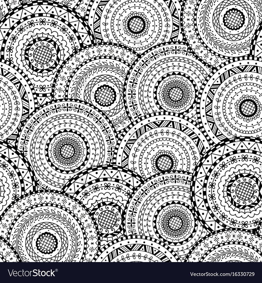 Seamless pattern of round abstract mandala
