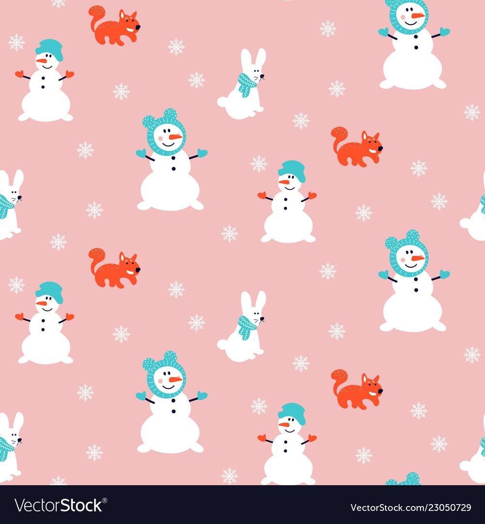 Snowman pattern seamless pink background