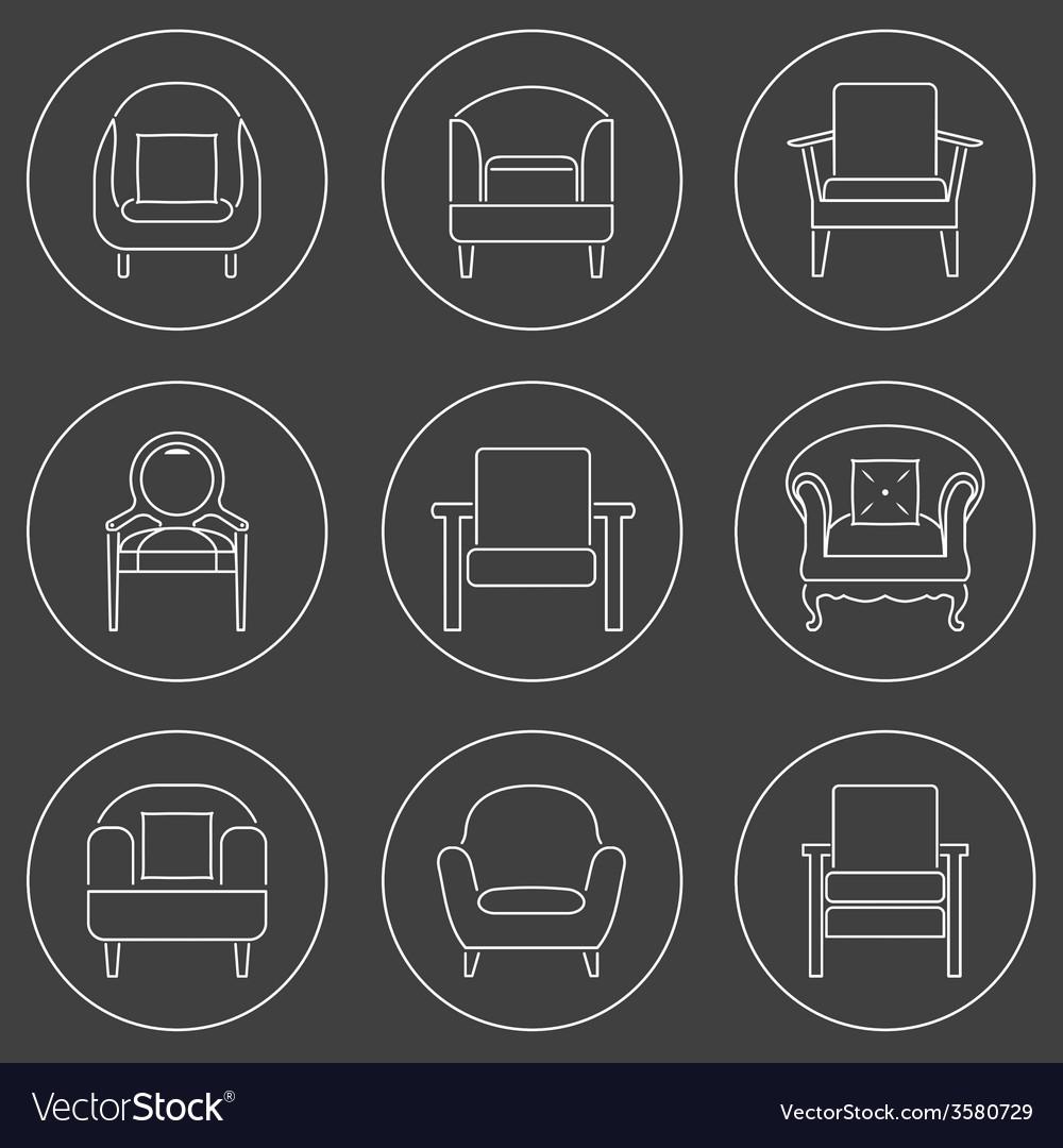 Sofa Icons Set White Line On Black Background