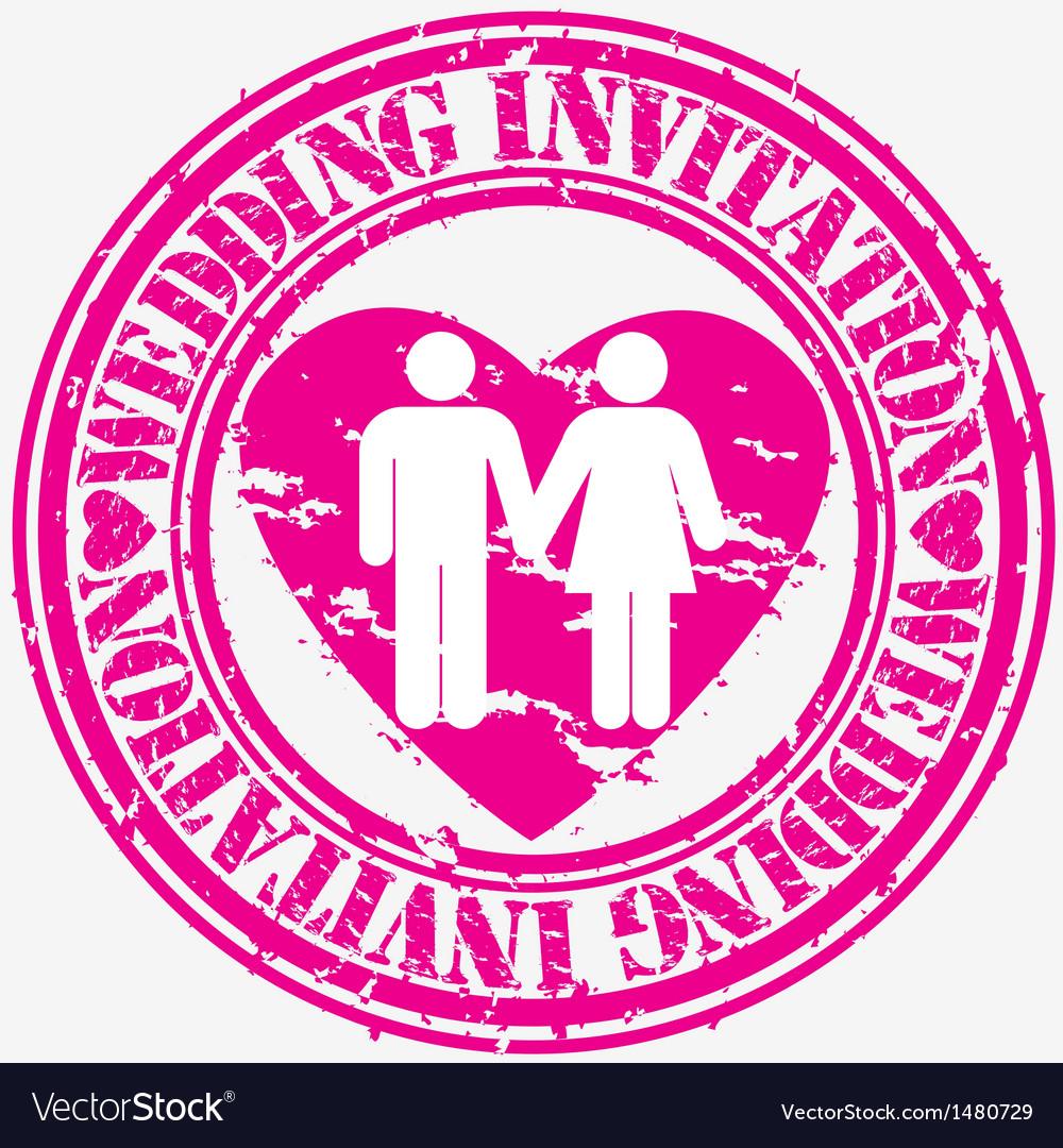 Wedding Invitation Grunge Stamp